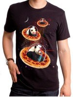 Invader Pandas On Pizza T-Shirt