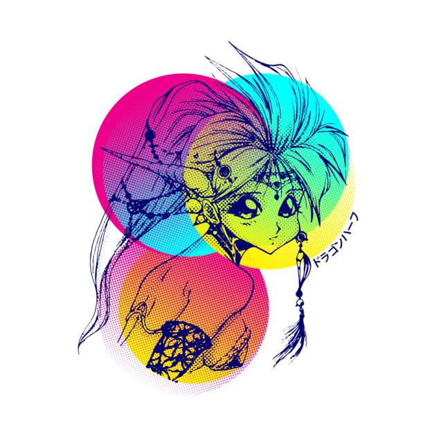 Colourful dragon girl