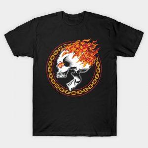 Flaming Metal Skull